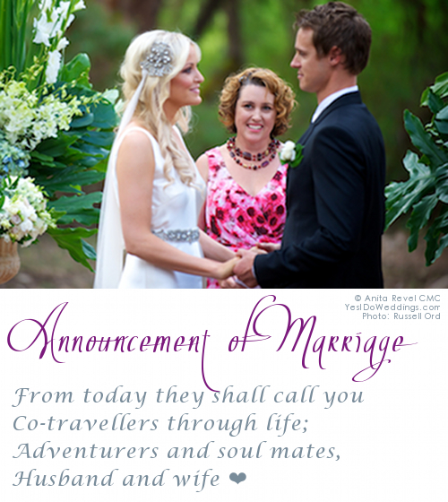 announcement of marriage blessing celebrant Margaret River