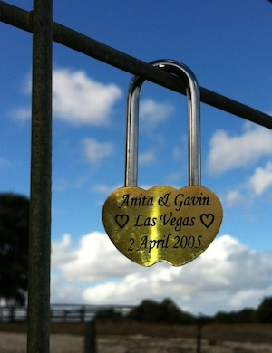 the first love heart lock in margaret river western australia