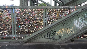 love heart locks on a bridge in Cologne, Europe