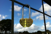 love heart lock on the gate at margaret river heartland wa