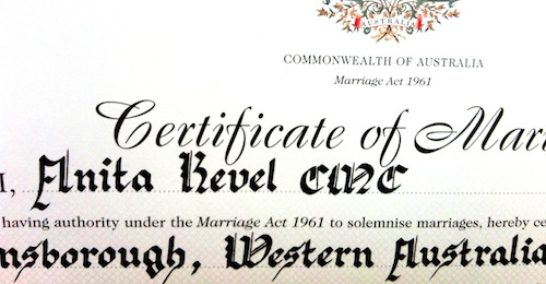 certificate of marriage - you will need this to change your name after marriage in Australia