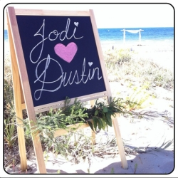 chalkboard wedding sign for a beach wedding