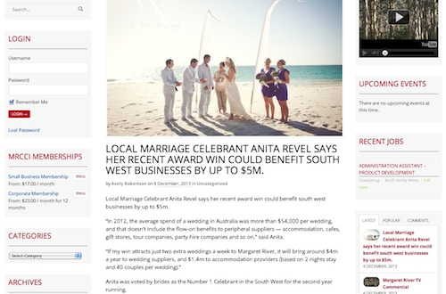 Margaret River Celebrant Anita Revel has been voted #1 in the south west