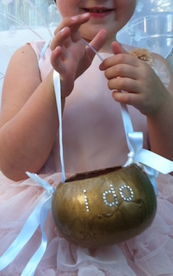 Gourd made into a basket for the flower girl