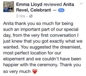 testimonials for anita revel celebrant margaret river