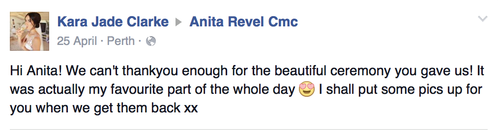 testimonial by couples married by anita revel